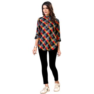 Desiner Multi Color Reyon Fabric Short Kurti For Women And Girlomkt30