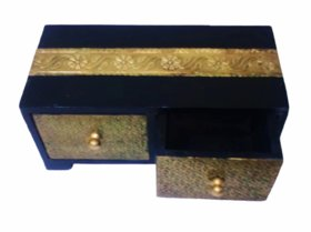 Metalcrafts Wooden box with 2 drawers, brass patra fitted, 20 cm