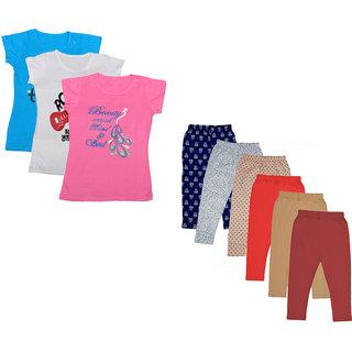 IndiWeaves Girls Cotton Printed Half Sleeves T-Shirt and Capri (Pack of 9)