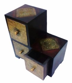 Metalcrafts Wooden box with 3 drawers, brass patra fitted, stylish, 25 cm