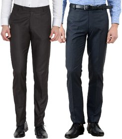 Haoser Men's  combo Pack of 2 Cotton Rayon Slim Fit Formal Trouser/ Office Wear formal trousers for men-Navy Blue, Dark Brown