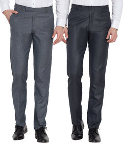 Haoser Men's  combo Pack of 2 Cotton Rayon Slim Fit Formal Trouser/ Office Wear formal trousers for men-Grey, Blue