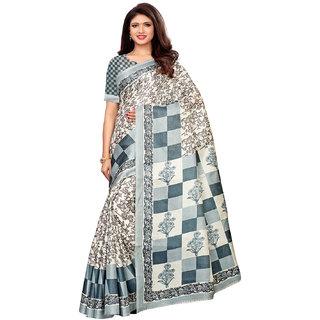 Swaron White Khadi Silk (Art Silk) Printed Saree With Unstitched Blouse