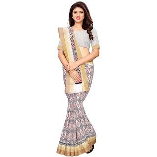 Swaron White Poly Cotton Jacquard Patta, Plain Saree With Unstitched Blouse