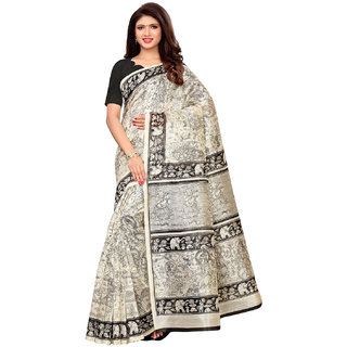 Swaron Off White Bhagalpuri Silk Printed Saree With Unstitched Blouse