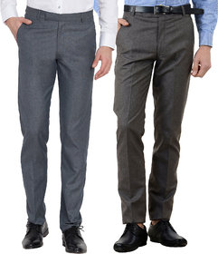 Haoser Men's Formal Trouser Combo of 2 /Cotton Rayon Slim Fit formal trousers for men-Grey, Navy Blue