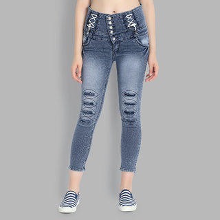 Perfect Ladies High Waist Skinny Fit 5 Button ClosureJeans