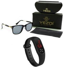 Yezdi Black Wayfarer Unisex Sunglass with UV 400 Lens with Free M3 Led Watch Band