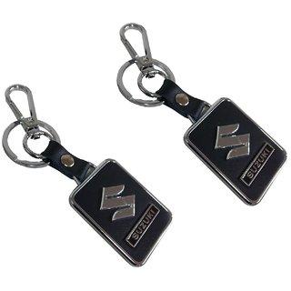 Stylewell(Set Of 2)  Leatherette Suzuki Logo Metallic Toy Key Ring/Keychain For Automobiles Bikes/Scooty/Cars (Black)