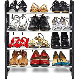 Shopper52 Stackable Shoe Rack Storage Shoe Stand Shoe Cabinet Shoe Organiser - 12SHRK