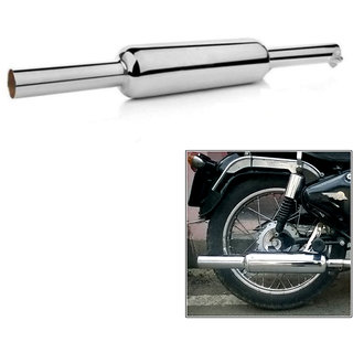 Dhe Best Bike Mini Punjab Dholki Short Bottle Empty Free Flow Bullet Exhaust Suitable Silencer Chrome BS3 & BS4 Model For Bullet 350 Twinspark