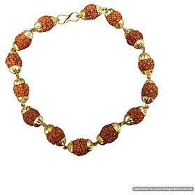 Sobhagya Golden Cap Rudraksha Bracelet for men and women Free size