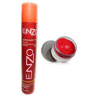 Enzo Hair Holding Spray 420 ml With 1 Colour Hair Wax Red 50 gm.