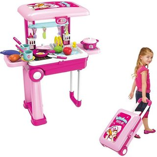 Luggage Kitchen Kit for Kids with Suitcase Trolley Multi Color with Lights Sound