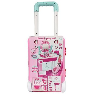 Beauty Play Set Toy Mirror Durable Dressing 2 in 1 Little Luggage with Music Sound and Light Toys for Kids
