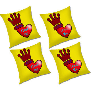 RADANYA Printed Polyester Cushion Cover Set of 4 Yellow,18x18 Inches
