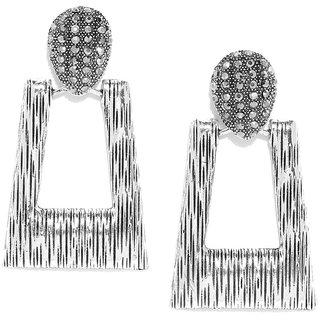 Jewels Galaxy Oxidized Silver-Plated Stone-Studded Geometric Drop Earrings For Women/Girls