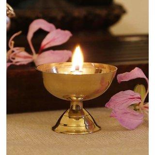 Rolimoli Classic Round Pure Brass Paro Pyali Kamal Akhand Diya Designed Deepak Puja Diya Best for Home & Office Decoration & Gift Purpose Handicraft (5 cm Diameter)