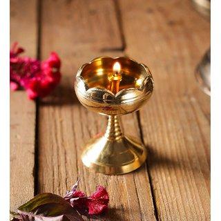 Rolimoli Kamal Pure Brass Lotus Akhand Diya Designer Deepak Puja Diya Best for Home  Office Decoration  Gift Purpose Handicraft Small Vilakku with Stand (Medium Height  8 cm) (Diameter  4.5 cm)