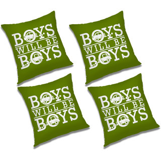 RADANYA Printed Polyester Cushion Cover With Filler Set of 1782 Green, 20x20 inches