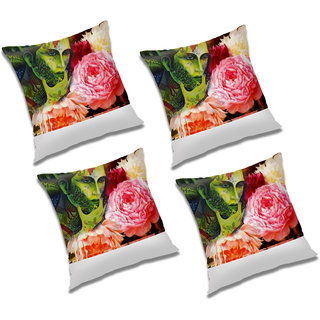 RADANYA Printed Polyester Cushion Cover With Filler Set of 1127 Multicolor, 20x20 inches