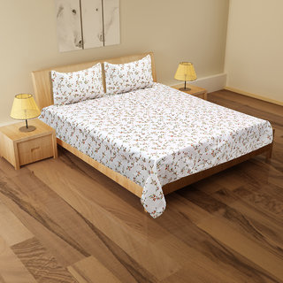 Stylla  Premium Cotton -1 Double Bed Sheet  2 Pillow Covers Cario