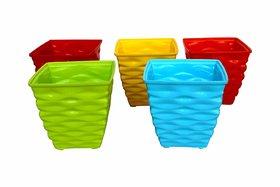 ShopMeFast Plastic Diamond Pot Set, Plastic Flower Pots, Plastic Plant Containers Set (4 inches, Multicolored, 5 Pieces)