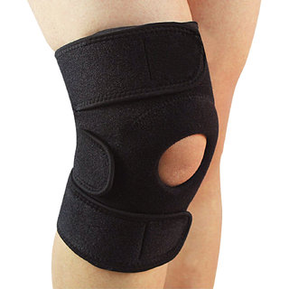 GymWar Patella Adjustable Knee Support Knee Cap Knee knee guard , Free Size (Black) 1pc