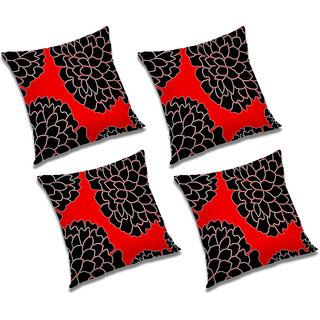 RADANYA Printed Polyester Cushion Cover Black,18x18 inches
