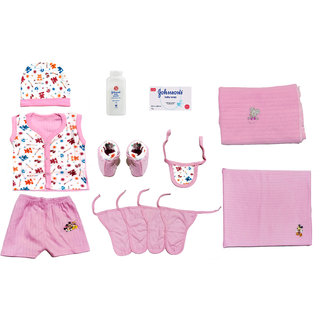 Born Baby Platinum Kit 8 in 1 (Baby Suit, Baby Booties, Cap, 4 Langot, Baby Rumaal, Baby Soap, Baby Powder, 2 Bed Sheet)