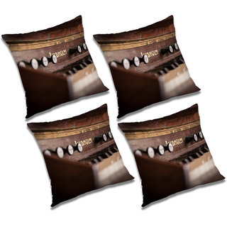 RADANYA Printed Polyester Cushion Cover Brown,24x24 inches