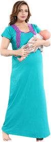 Be You Cotton Solid Women Maternity /Nursing / Feeding Gown - Turquoise - Free Size