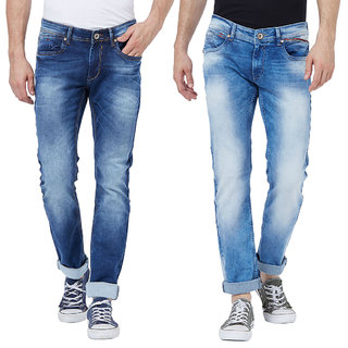 Right Fit Men's Indigo Cotton Stretchable Skinny Fit Jeans (Pack of 2)