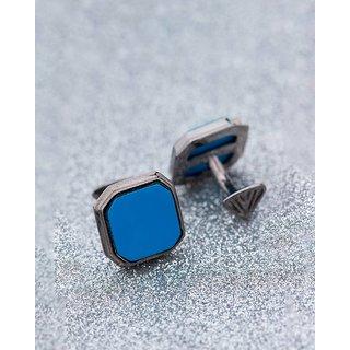 Dare by Voylla Turquoise Square Stone Studded Milestone Cufflinks