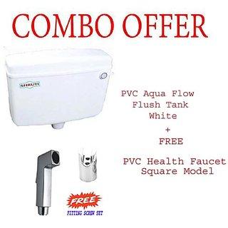 SHRUTI PVC Aqua Flow Flushing Cistern Flush Tank White 10Liter with Free SHRUTI PVC Health Faucet Square Model-2249-1177