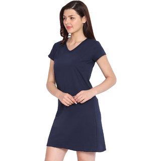 Haoser Women's V-Neck Soid Navy Cotton Half Sleeve Night Dress
