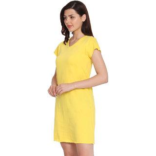 Haoser Women's Yellow Solid Cotton Half Sleeve Regular Fit Night Dress