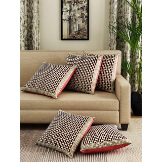 HomeStore-YEP Floral 5 Piece Polycotton Cushion Cover Set - 16x 16, Multicolour, m-2