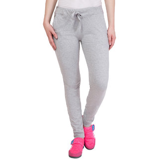 Haoser Women's Grey Cotton Plain Trackpant