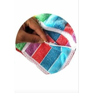 Premium furnishing pure cotton very soft hanky with zip pocket for kids/women pack of 6.(LXW) (25X25 cm).