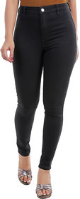 Timbre Women Skinny Fit High Rise Streachable Full Length Black Jeans