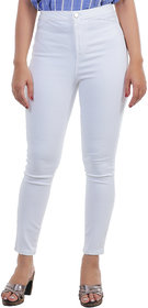 Timbre Women Skinny Fit High Rise Streachable Full Length White Jeans