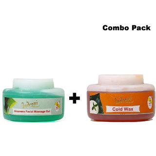 Indrani Cold Wax 250 gm + Alovera Facial Massage Gel 200 gm