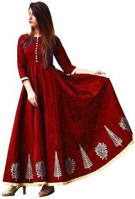 Saadhvi Maroon Taffeta Silk Embroidered Semi Stitched Gown