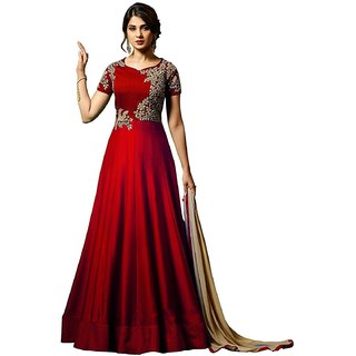 Vkaran Maroon Taffeta Silk Embroidered Semi Stitched Gown