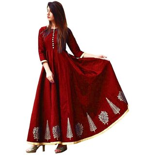 Florence Maroon Taffeta Silk Embroidered Semi Stitched Gown