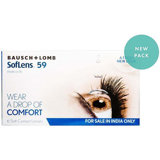 SofLens 59 Monthly Disposable Contact Lens Pack Of 2 Lens Per Box(-6.00)