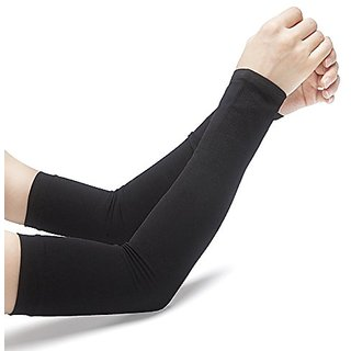 BLUEE Unisex UV Protection Cooling Arm Sleeves (BLACK,FREE SIZE)