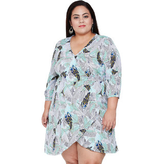 Oxolloxo Women's Plus Size Polyester Long Sleeve Printed Wrap Dresses