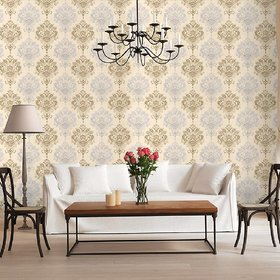 Jaamso Royals Damask Removable Wallpaper Peel and Stick Contact Paper Decorative Self Adhesive Shelf Drawer Liner Royals Design Wall Paper (100  45 CM)